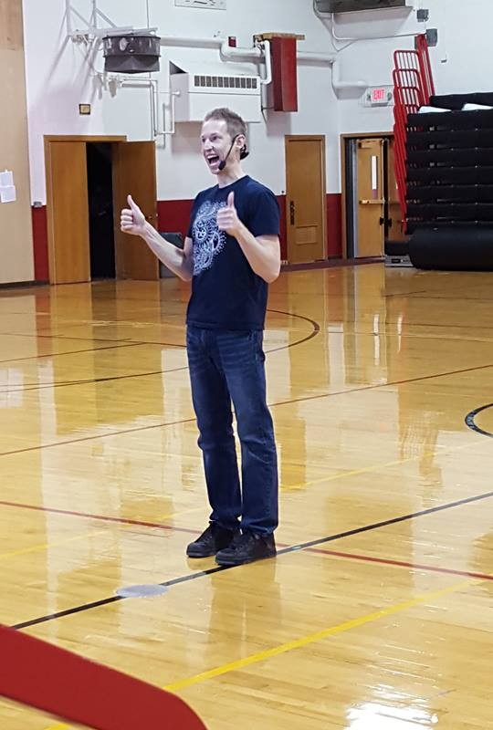 Matt speaking to students at Erie Elementary.