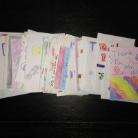 All 85 thank you notes from sixth grade students at Paw Paw Middle School.
