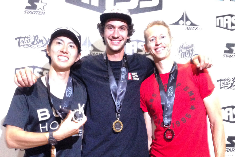 Matt Wilhelm taking 3rd place at the iBMXff Flatland World Champships. Also pictured are Takahiro Ikeda (Japan) and Matthias Dandois (France).
