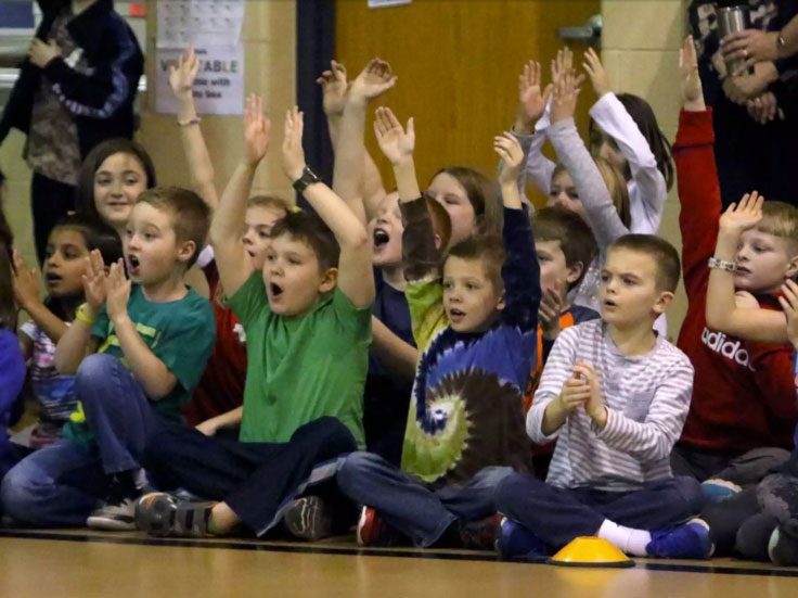 Kids cheering at Matt Wilhelm's anti-bullying school assembly in Lannon, WI.
