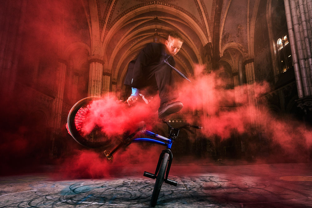Matt Wilhelm St Boniface Church Jump Switch in Red Smoke