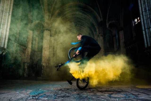 Matt Wilhelm St Boniface Church Pedaling Megaspin in Yellow Smoke