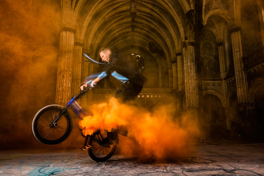 Matt Wilhelm St Boniface Church Megaspin in Orange Smoke