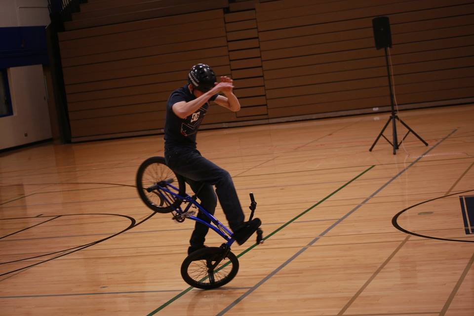 Matt Wilhelm performing the FOB spin at Wheeling High School.