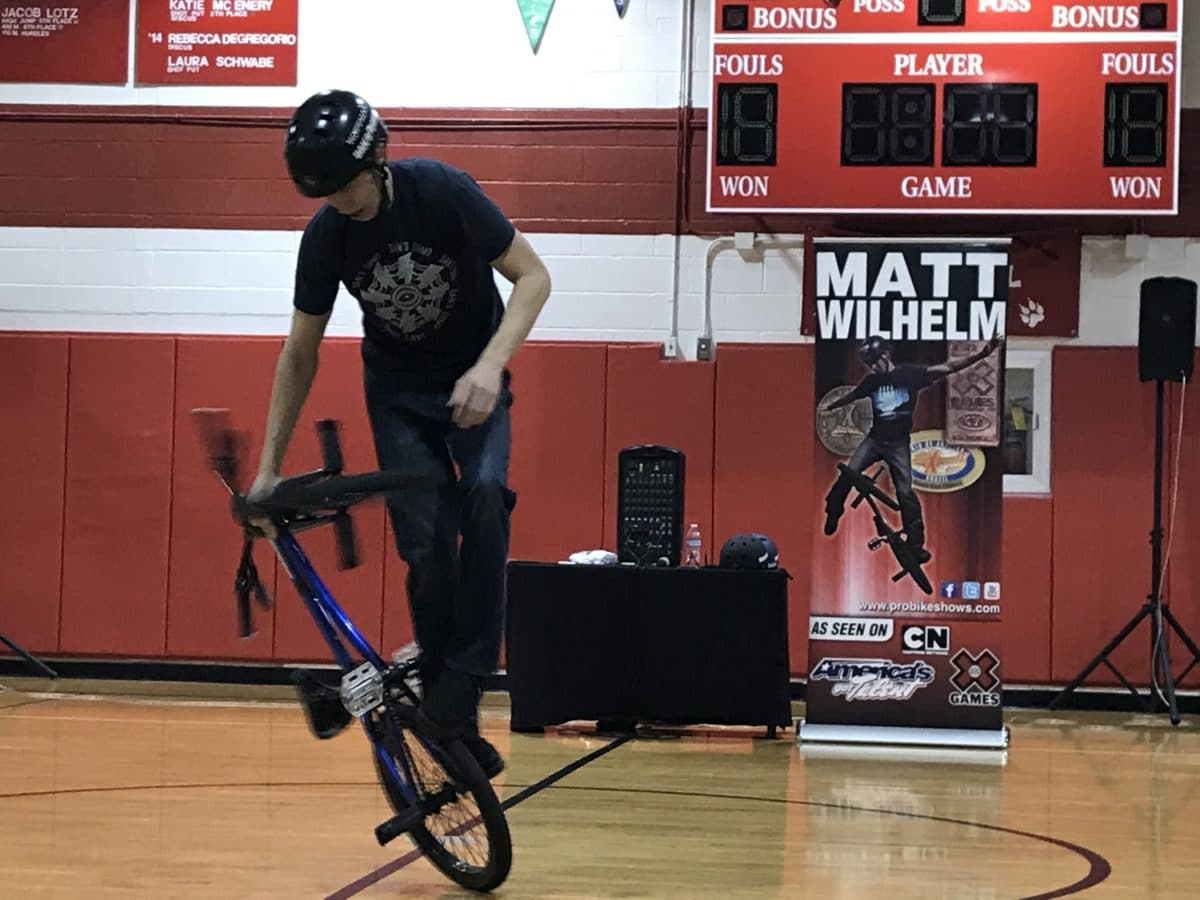 Matt Wilhelm performing at Stanton Middle School