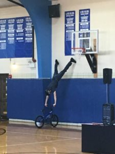Matt performing the Spiderman at Saints Peter and Paul Catholic School in Naperville.