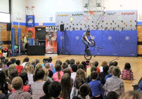 Matt Wilhelm performing at Horace Mann Elementary School.